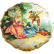 Vintage Stratton Enameled Powder Compact Lovers Courting