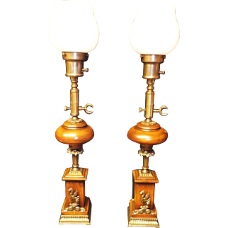 Mahogany and Brass English Torchere Table Lamps with Griffin Decoration