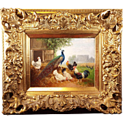 Antique Oil Painting on Board Peacock Farm Scene by O. Scheuerer