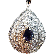 Diamond And Sapphire Pendant 6.50 cts. 14 kt White Gold