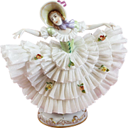 Dresden Lace Figurine Lady Dancing