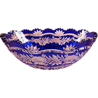 Czech cut crystal rose point bowl Cobalt and Clear