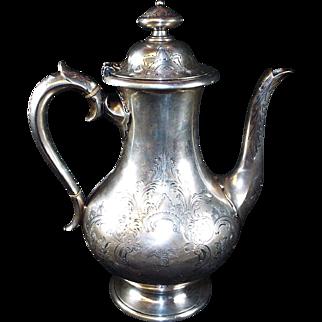 Antique Sterling Silver Coffee Pot  circa:  1861