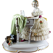 Dresden Lace Figurine Lady at Piano Unter Weiss Bach  Germany