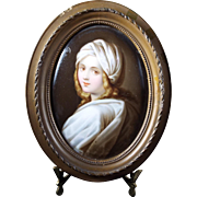 Antique Oil Painting on Porcelain Wood Frame