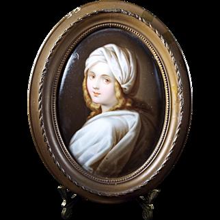 Antique Oil Painting on Porcelain Wood Frame