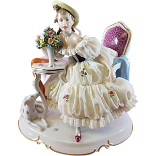 Dresden Lace Figurine Lady with Dog
