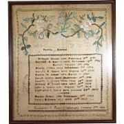 Antique Sampler Family Record dated 1818 Wood Framed