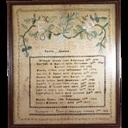 Antique Sampler Family Record dated 1818 Wood Framed
