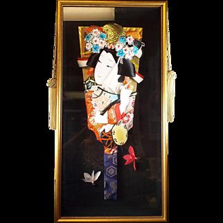 Japanese Hagoita with Oriental Lady Embellishment...Wood framed