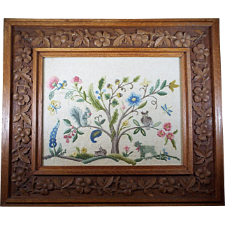 Antique Crewel Embroidery Animal Scene in Tiger Oak Frame