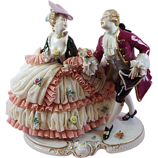 Dresden Lace Porcelain Figurine from Germany Unter Weiss Bach Courting Couple