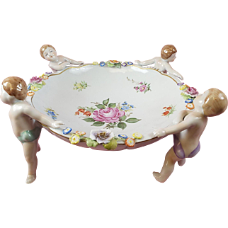 German Dresden Figural Centerpiece Bowl Mint Condition