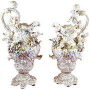 Magnificant German Ewers Fairy Elves and Floral Decorations Set of Two