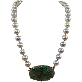 Akoya Pearl and Jadite Necklace 14 kt gold Appraisal Included
