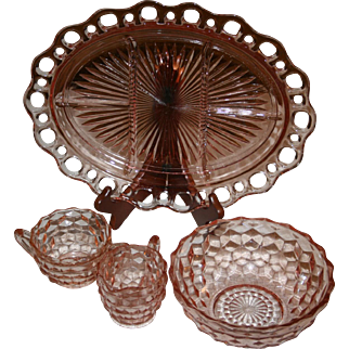 Set of Cube Pink by Jeannette depression glass serving items