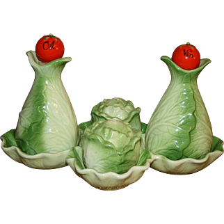 Metlox cabbage condiment set with serving tray