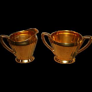 Beautiful gold toned PICKARD cream and sugar set
