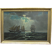 "Framed William Torgerson Oil Painting ""Side Wheeler at Battle."""