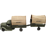 1930's Buddy L Army Troop Transport & Munitions Trailer Pressed Steel Truck.