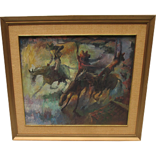 Framed Oil on Canvas Western Painting by Jack Bevier. Cowboys on Horses.