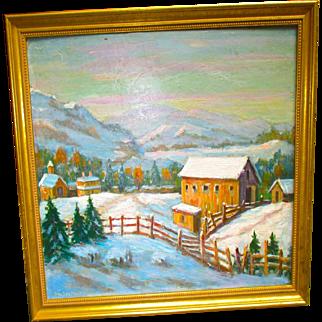 """Framed Oil Painting titled """"New Hampshire"""" artist Peter Bela Mayer. Farm scene."""