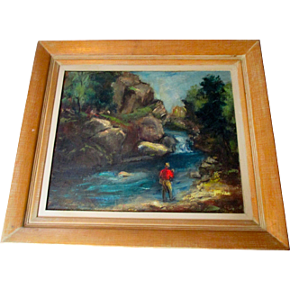 Framed Oil Painting of Trout Fisherman by S. G. Joseph. Sporting Painting.