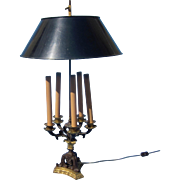 French Bouillotte Bronze and Gilded Rare 5 Armed Table Lamp.