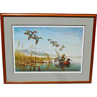 Framed and Matted Duck Stamp Print by Rob Leslie. Signed by Artist.