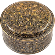 Indian Muradabad Jewelry Box, White Metal Inlaid with Niello
