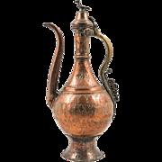 18th Century Antique Ottoman Beaten Copper Ewer or Pitcher with Bird Finial
