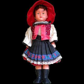 Cute Czechoslovakia Doll with Folk Costume of Southern Moravia