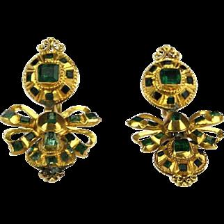 Antique Spanish 18K Golden Earrings with Emeralds, Granada, 18th Century