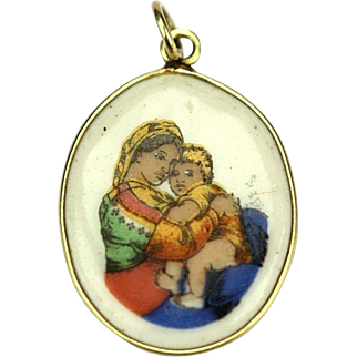 Madonna della Seggiola 16K Gold Vintage Pendant, Czechoslovakia, 1940´s