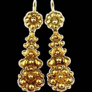 Antique 14K Gold Biedermeier Earrings, 1840´s