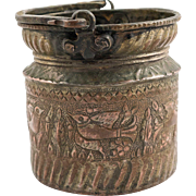 Islamic Antique Qajar Water Copper Bucket, 19th century, Cypress and Bird Design