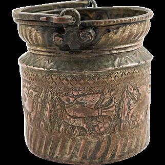 Persian Qajar Water Copper Bucket, 19th century, Cypress and Bird Design