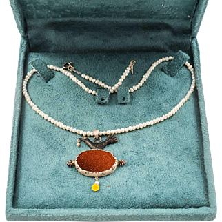 Middle East Agate Artisan Necklace with Silver Bird and Small Pearls