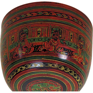 Antique India Papier-Mache Buddhist Bowl, 19th Century