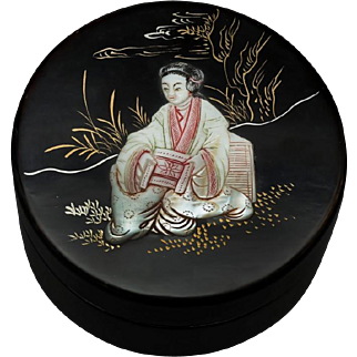 Japanese Black Lacquered Jewelry Box with Mother of Pearl Design