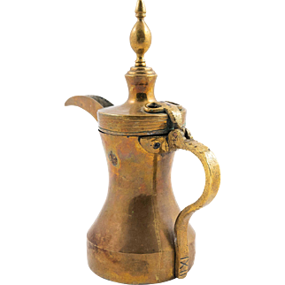 Turkish Ottoman Brass Coffee Ewer with Tughra Seal, 19th century