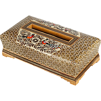 Modern Persian Paper Tissue Box with Bird and Flower Design