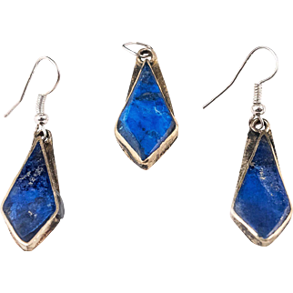 Old Persian Vintage Jewelry Lapis Lazuli Set - Earrings and Pendant