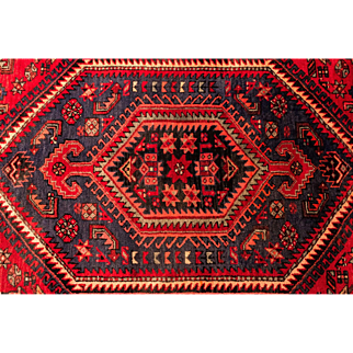 Traditional Persian Hamadan Carpet with Typical Geometric Patterns