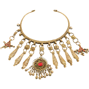 Afghan Kuchi Tribal Jewelry, Base Metal-Glass, mid 20th Century
