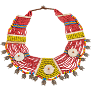 Old Nagaland Jewelry with Beads and Bone Segments, mid 20th Century