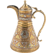Mamluk Revival Damascus Coffee Ewer, Silver-Copper Inlaid