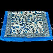 Turkish Bursa Silk Scarf with Iznik Flower Design - Cobalt Blue