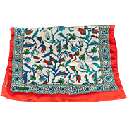 Turkish Bursa Silk Scarf with Iznik Flower Design -  Red Color