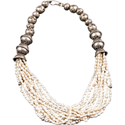 Old Turkmen Necklace with Pearls and Metal Beads